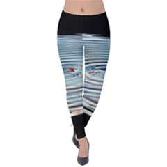 Wave Concentric Waves Circles Water Velvet Leggings by BangZart