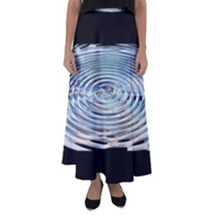 Wave Concentric Waves Circles Water Flared Maxi Skirt