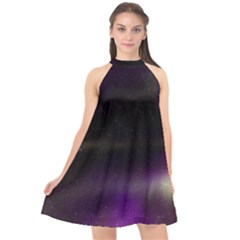 The Northern Lights Nature Halter Neckline Chiffon Dress