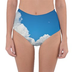 Sky Clouds Blue White Weather Air Reversible High Waist Bikini Bottoms by BangZart