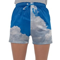Sky Clouds Blue White Weather Air Sleepwear Shorts