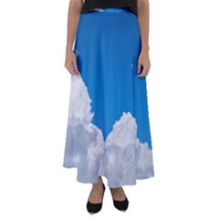Sky Clouds Blue White Weather Air Flared Maxi Skirt