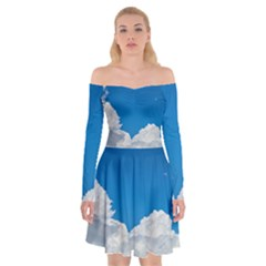 Sky Clouds Blue White Weather Air Off Shoulder Skater Dress