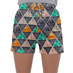 Abstract Geometric Triangle Shape Sleepwear Shorts