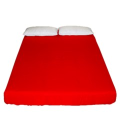 Solid Christmas Red Velvet Fitted Sheet (queen Size) by PodArtist
