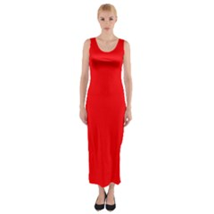 Solid Christmas Red Velvet Fitted Maxi Dress