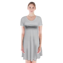 Solid Christmas Silver Short Sleeve V Neck Flare Dress