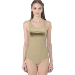 Solid Christmas Gold One Piece Swimsuit by PodArtist