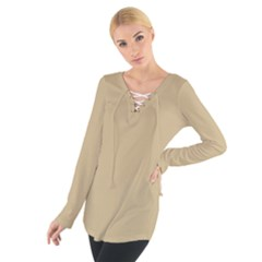 Solid Christmas Gold Women s Tie Up Tee