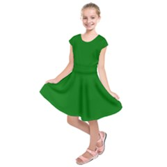Solid Christmas Green Velvet Classic Colors Kids  Short Sleeve Dress by PodArtist