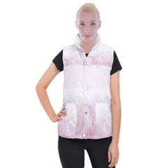 Pink Blossom Bloom Spring Romantic Women s Button Up Puffer Vest