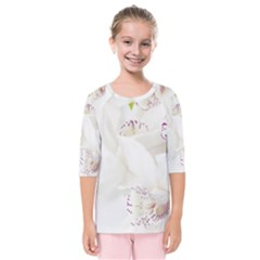 Orchids Flowers White Background Kids  Quarter Sleeve Raglan Tee
