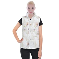 Orchids Flowers White Background Women s Button Up Puffer Vest