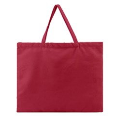 Usa Flag Red Blood Red Classic Solid Color  Zipper Large Tote Bag by PodArtist