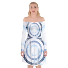 Center Centered Gears Visor Target Off Shoulder Skater Dress