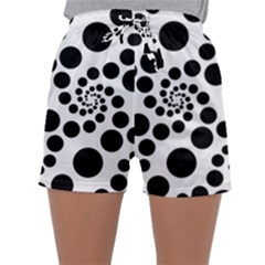 Dot Dots Round Black And White Sleepwear Shorts