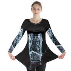Glass Water Liquid Background Long Sleeve Tunic  by BangZart