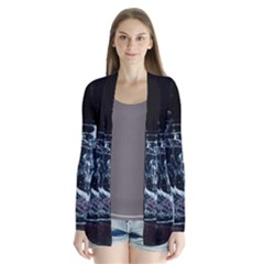 Glass Water Liquid Background Drape Collar Cardigan
