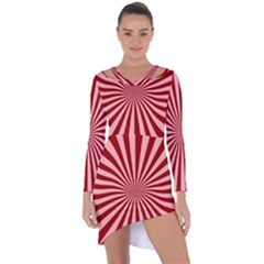 Sun Background Optics Channel Red Asymmetric Cut-out Shift Dress