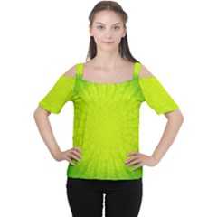 Radial Green Crystals Crystallize Women s Cutout Shoulder Tee