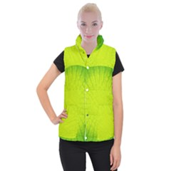 Radial Green Crystals Crystallize Women s Button Up Puffer Vest