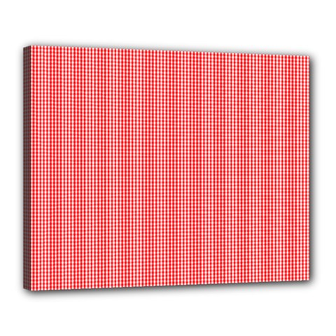 Christmas Red Velvet Mini Gingham Check Plaid Canvas 20  X 16  by PodArtist