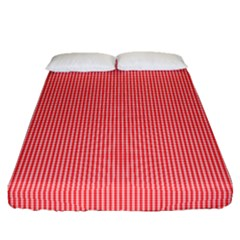 Christmas Red Velvet Mini Gingham Check Plaid Fitted Sheet (queen Size) by PodArtist