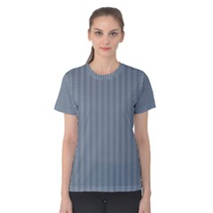 Silent Night Blue Mini Gingham Check Plaid Women s Cotton Tee by PodArtist