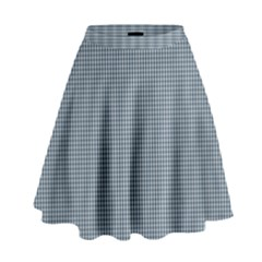 Silent Night Blue Mini Gingham Check Plaid High Waist Skirt by PodArtist