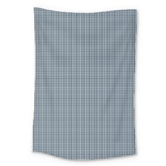 Silent Night Blue Mini Gingham Check Plaid Large Tapestry by PodArtist
