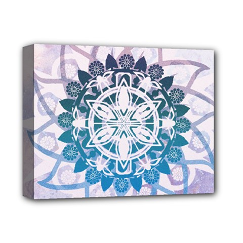 Mandalas Symmetry Meditation Round Deluxe Canvas 14  X 11  by BangZart