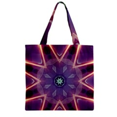 Abstract Glow Kaleidoscopic Light Zipper Grocery Tote Bag by BangZart