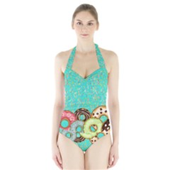 Colorful Sprinkle Donuts Halter Swimsuit by PattyVilleDesigns