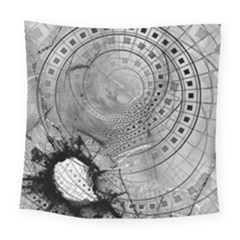 Fragmented Fractal Memories And Gunpowder Glass Square Tapestry (large) by jayaprime