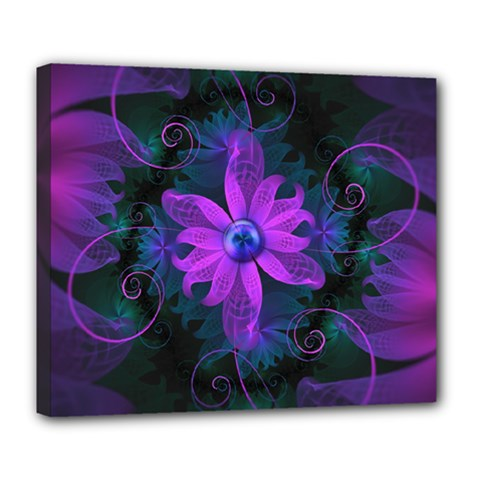 Beautiful Ultraviolet Lilac Orchid Fractal Flowers Deluxe Canvas 24  X 20   by jayaprime