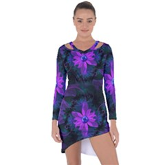 Beautiful Ultraviolet Lilac Orchid Fractal Flowers Asymmetric Cut Out Shift Dress