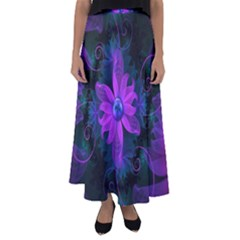 Beautiful Ultraviolet Lilac Orchid Fractal Flowers Flared Maxi Skirt