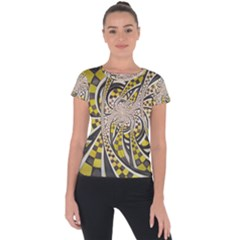 Liquid Taxi Cab, A Yellow Checkered Retro Fractal Short Sleeve Sports Top