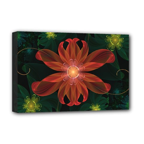 Beautiful Red Passion Flower In A Fractal Jungle Deluxe Canvas 18  X 12   by jayaprime