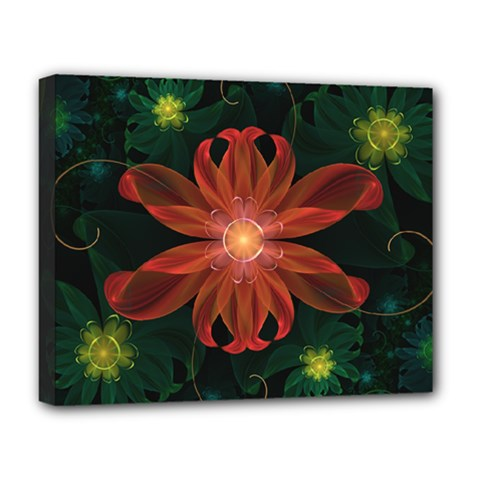 Beautiful Red Passion Flower In A Fractal Jungle Deluxe Canvas 20  X 16   by jayaprime