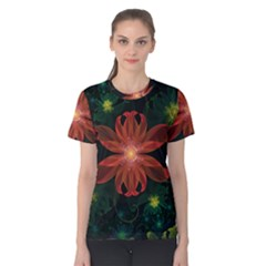 Beautiful Red Passion Flower In A Fractal Jungle Women s Cotton Tee by jayaprime