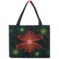 Beautiful Red Passion Flower In A Fractal Jungle Mini Tote Bag by jayaprime