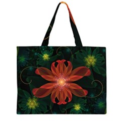 Beautiful Red Passion Flower In A Fractal Jungle Zipper Large Tote Bag by jayaprime