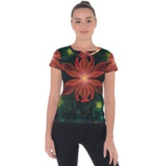 Beautiful Red Passion Flower In A Fractal Jungle Short Sleeve Sports Top