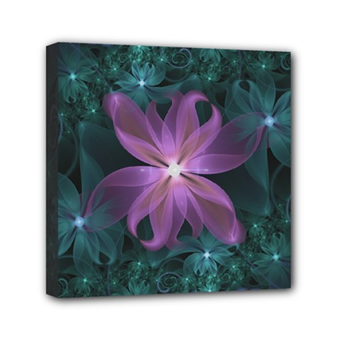 Pink And Turquoise Wedding Cremon Fractal Flowers Mini Canvas 6  X 6  by jayaprime