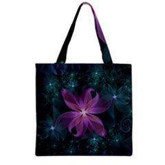 Pink And Turquoise Wedding Cremon Fractal Flowers Grocery Tote Bag by jayaprime
