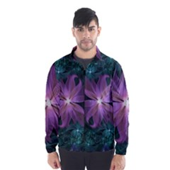 Pink And Turquoise Wedding Cremon Fractal Flowers Wind Breaker (men)