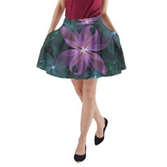 Pink And Turquoise Wedding Cremon Fractal Flowers A Line Pocket Skirt by jayaprime
