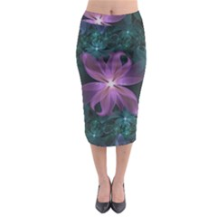 Pink And Turquoise Wedding Cremon Fractal Flowers Midi Pencil Skirt by jayaprime