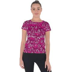Glossy Abstract Pink Short Sleeve Sports Top